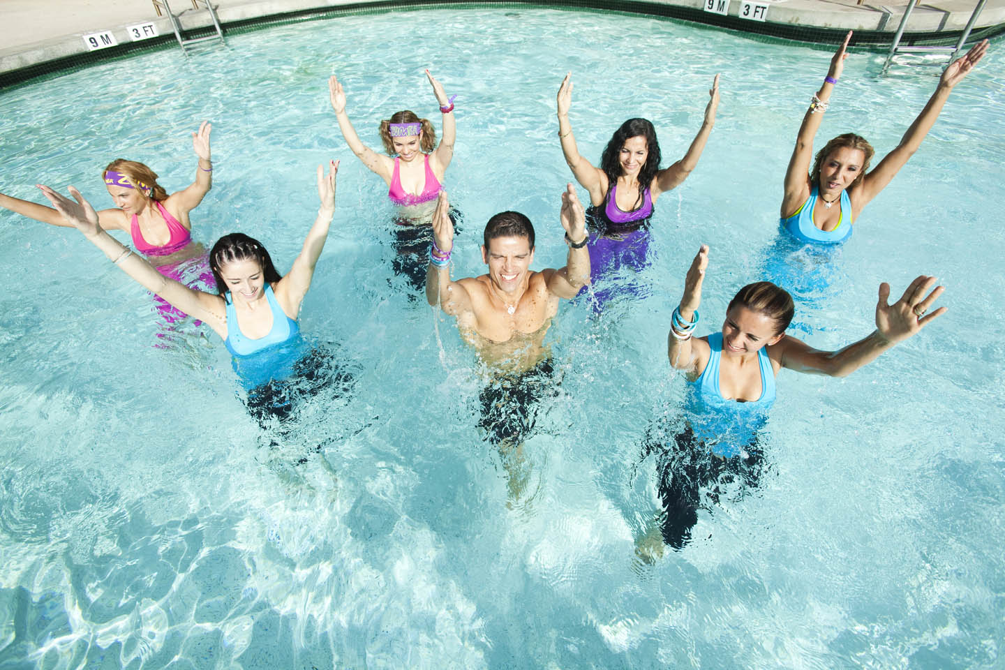 Water aerobics - exercises in the pool